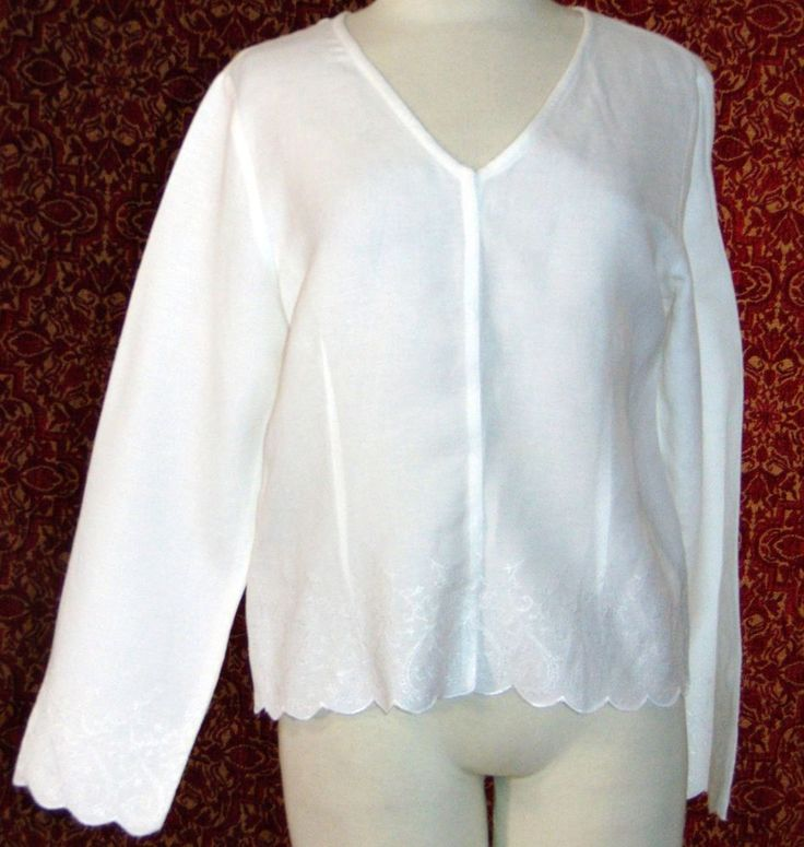 EMMA JAMES white linen blend long sleeve snap front blouse 10 (TF-02G6) #EmmaJames #Blouse #Casual