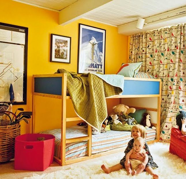 Paint the inner panels of the IKEA bunk bed for a fun pop of color.