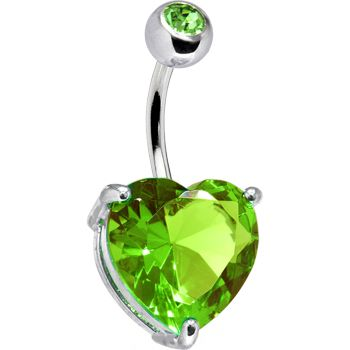 August 14mm Heart Solitaire Birthstone Belly Ring   Body Candy Body Jewelry