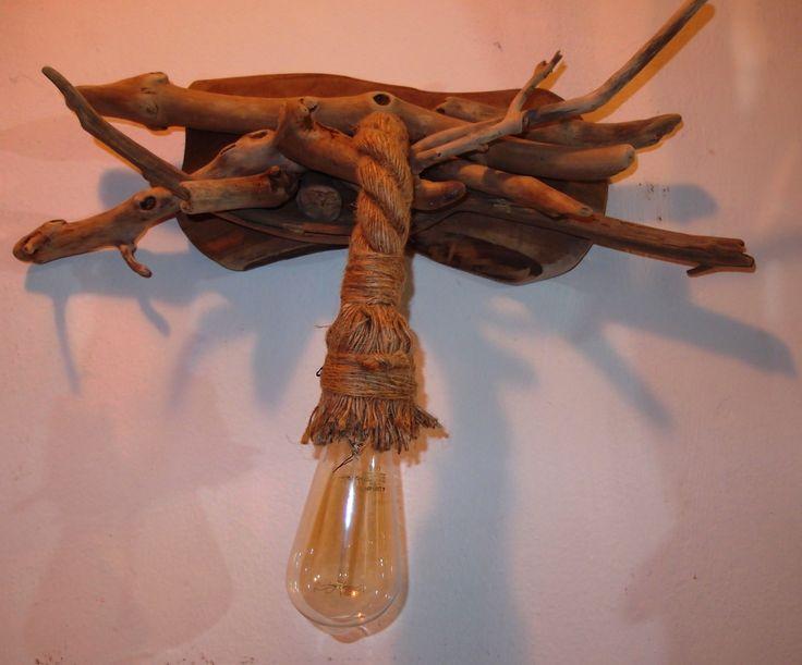 τηλ.6976773699..απλίκα φωτιστικό από θαλασσοξυλα με σχοινί Μανίλα σε πλάκα κορμού..διαστ.50cm