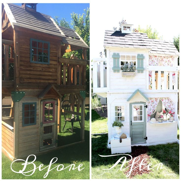 She turned an old playset into her little girl's new country chic retreat.