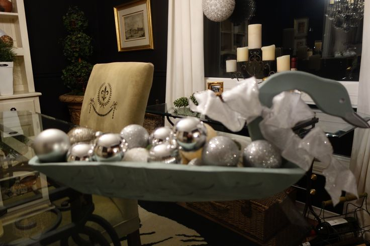 old butter bowl.....et voila.....Christmas decor