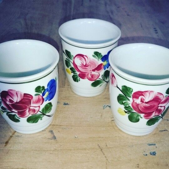 Oh yes. Hand painted milk cups, also perfect for coffee. #flowers