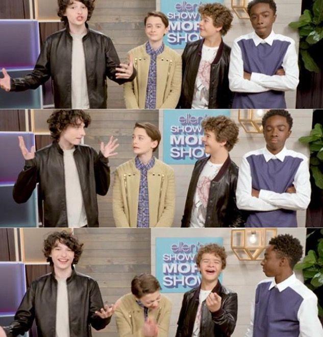 Finn Wolfhard, Noah Schnapp, Gaten Matarazzo & Caleb McLaughlin - The Ellen show - Stranger Things cast