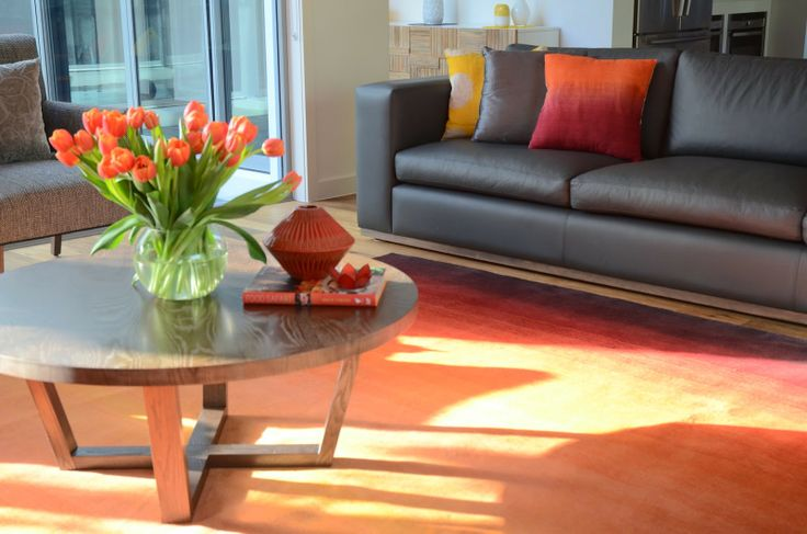 """Glorious ombre """"Feathers"""" rug by Bayliss rugs, coffee table from Globewest and seating made in Melbourne at Arthur G."""