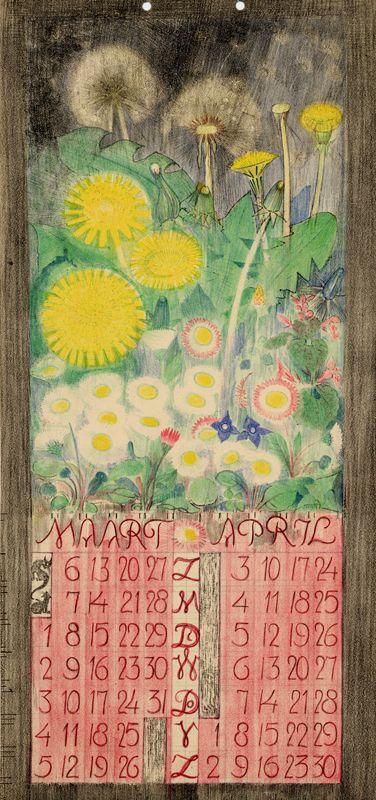 illustration hollandaise : Leo Visser, calendrier avril et mai 1927. fleurs, pissenlits