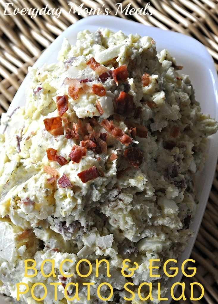 ~Bacon & Egg Potato Salad~ Perfect side dish for any cookout, barbecue or summer time party. Tasty with everything from burgers to steak to chicken!