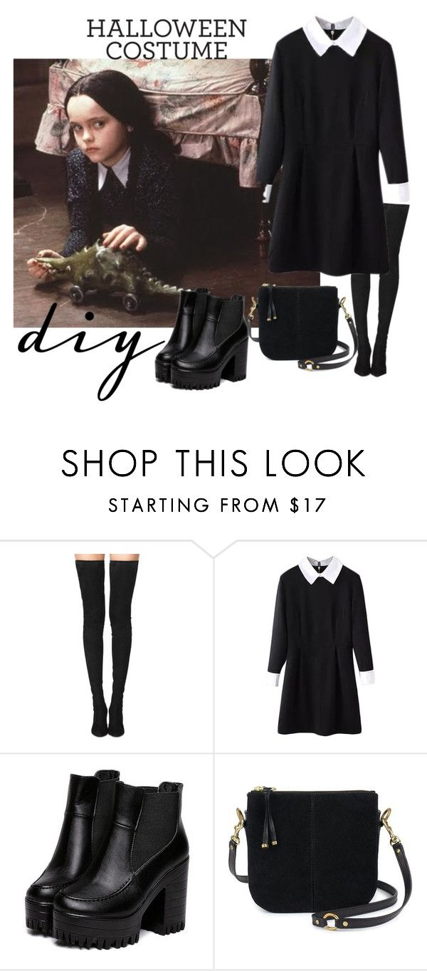 """Merlina Addams"" by evyvaleramirez ❤ liked on Polyvore featuring Tamara Mellon and diycostume"