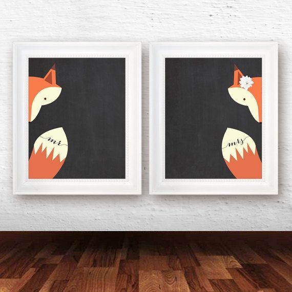 De heer en mevrouw Art Print, slaapkamer wand decor, fox decor, fox kunst afdrukken, bruids douchegift, DIY huwelijksgeschenk - INSTANT DOWNLOAD
