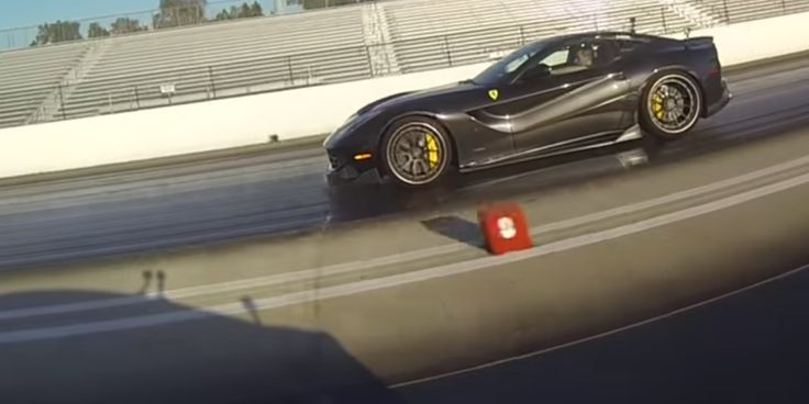 Watch a Ferrari F12 take the Tesla P85D's lunch money. The Tesla is still stupid-fast, mind you, running an 11.6 @ 115 mph. It's even more remarkable when you consider that it's about a quarter of the F12's price and can carry triple the people.