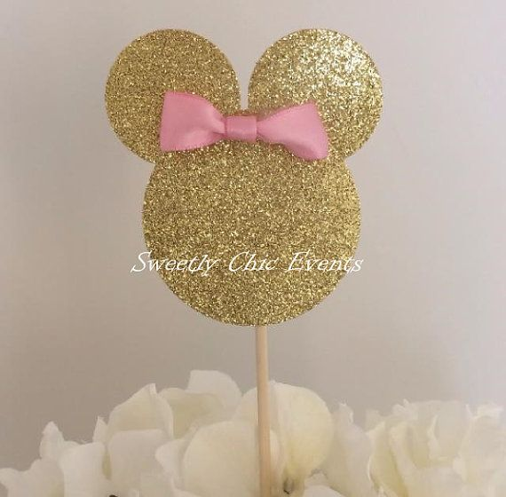 This listing is for 1 made to order Minnie (or Mickey) Mouse cake topper for your next event! Each cake topper is available in gold, pink and