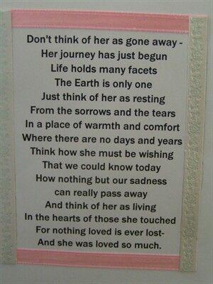 Sympathy card verse                                                                                                                                                                                 More