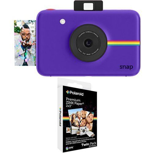 Polaroid Snap Instant Digital Camera Purple with 2x3 inch Premium ZINK Photo Paper TWIN PACK 20 Sheets