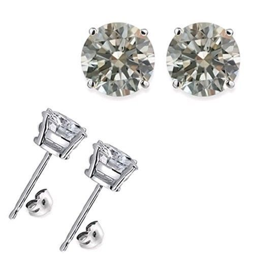 2 Carat 6Mm Round White Cz 925 Silver White Gold Plated Stud Earrings