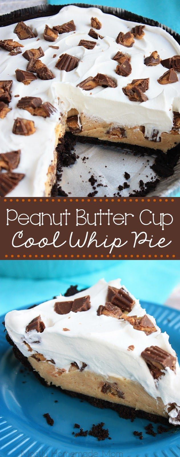 Peanut Butter Cup Cool Whip Pie - Cream cheese and peanut butter layered with whipped cream and chopped Reese's Cup minis in a chocolate Oreo cookie crust - the perfect, no bake dessert!
