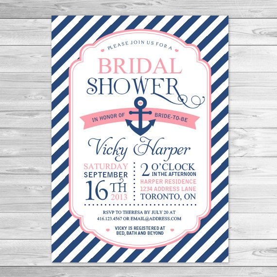 Bridal Shower Invitation, Nautical Invitations, Navy and Coral, Anchor Invitation, Printable