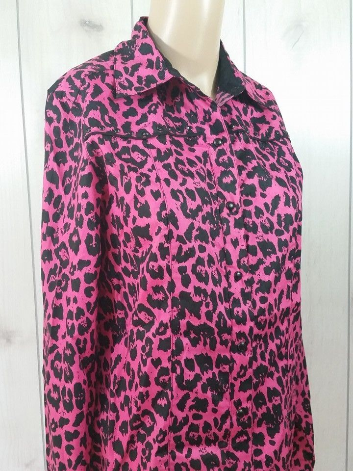 Cruel Girl Arena Fit Equestrian Hot Pink Leopard Print Top Size S NWT #CruelGirl #ButtonDownShirt