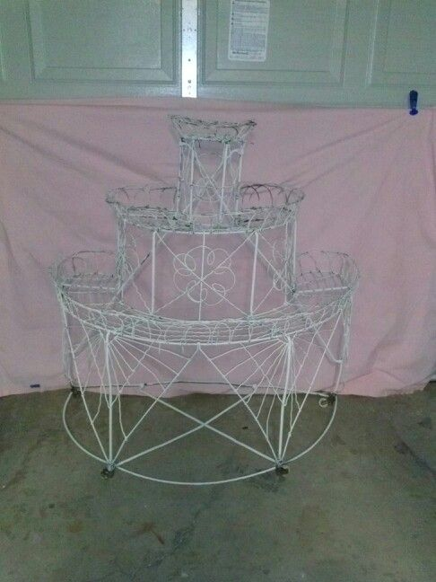 3 tier french wire plant stand on wheels