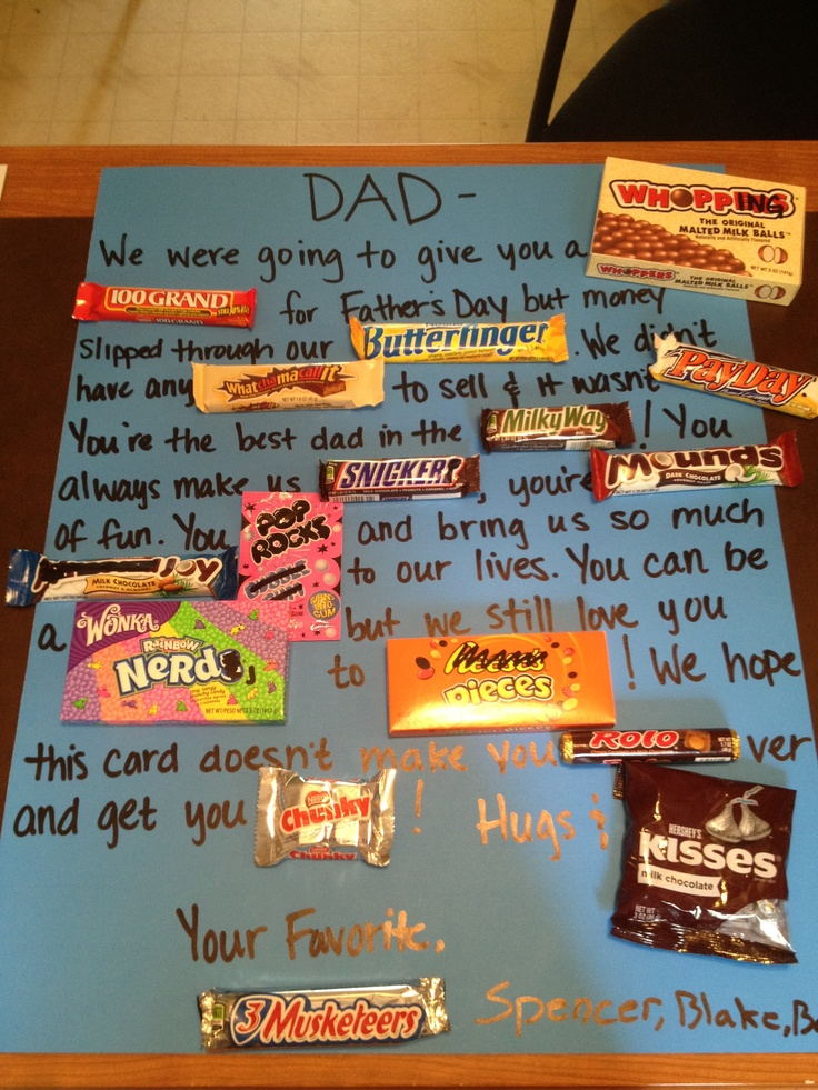 father's day card candy bars