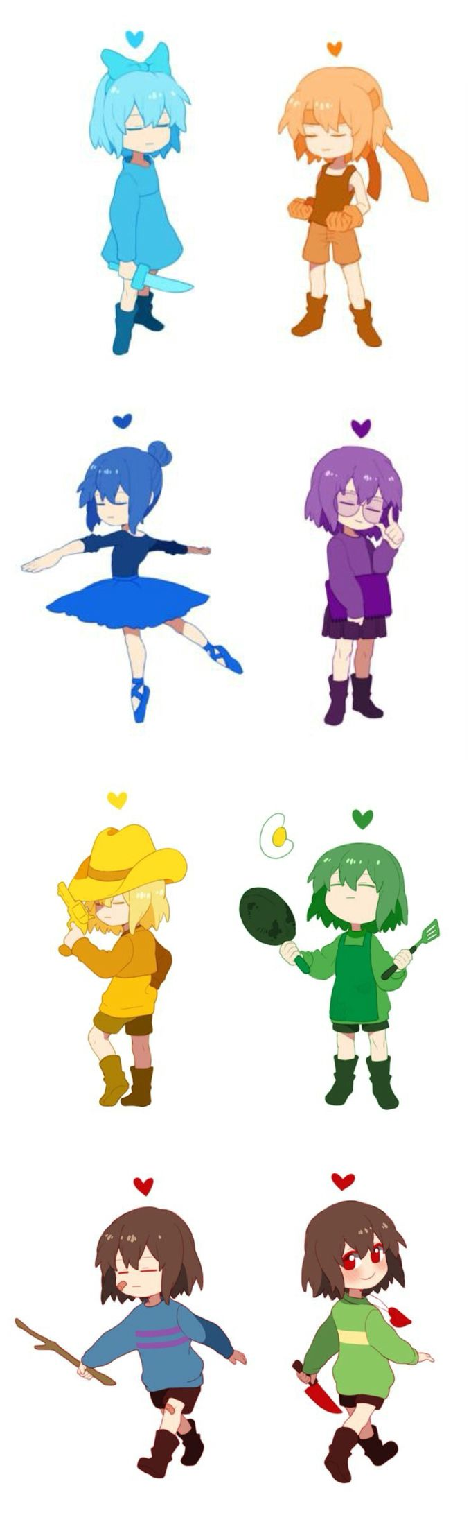 Undertale the eight humans and their SOULs with all their weapon/ defense item combos