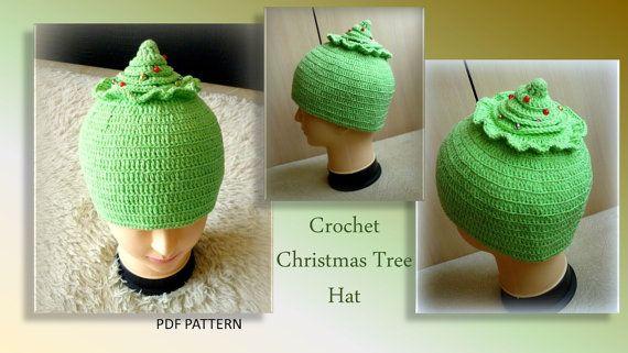 PDF Pattern  Christmas Tree Hat Crochet Clown hat от OLEANDR