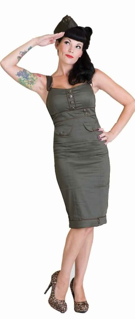 Army Green Military Pin Up Pencil Dress Living Dead Souls Rockabilly XL XXL | eBay