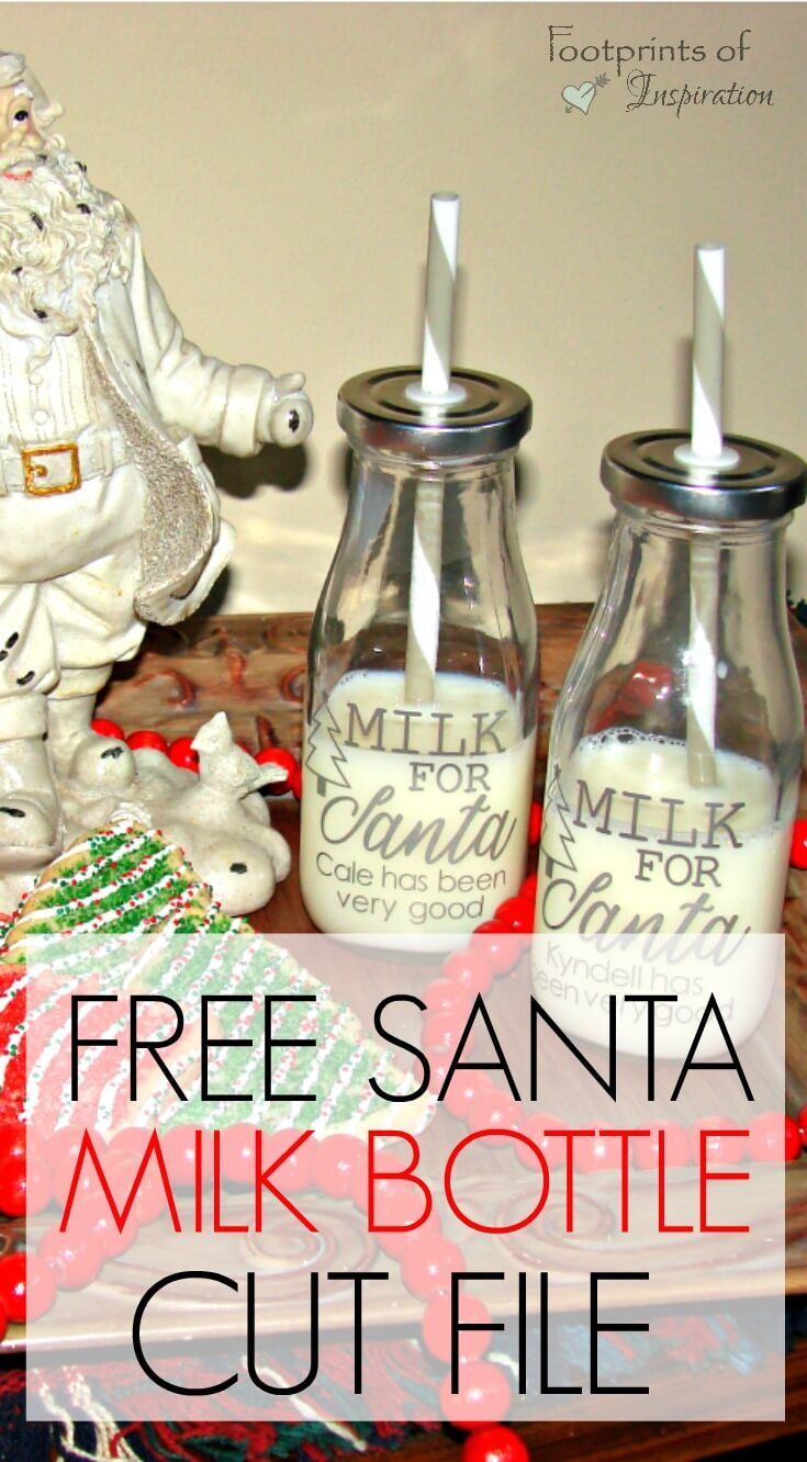 Don't ya just love all the milk bottles DIYs?  They can be used for so many fun occasions.  Won't these milk bottles look so cute sitting out for Santa on Christmas night? Check out this easy tutorial that includes a Free Santa Milk Bottle SVG Cut file.