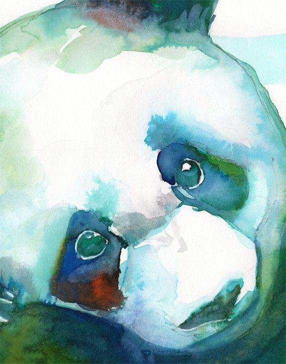 WATERCOLOR PANDA ART print panda nursery panda by SesCaniques