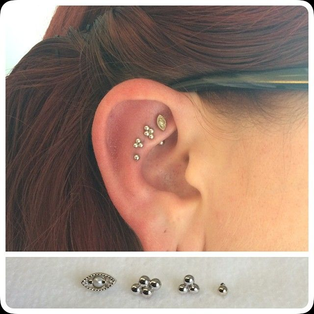 cjmaxwell:  Miss Michelle and I were definitely seeing eye to eye when we planned this cute little ear project! We topped her healed rook pi...
