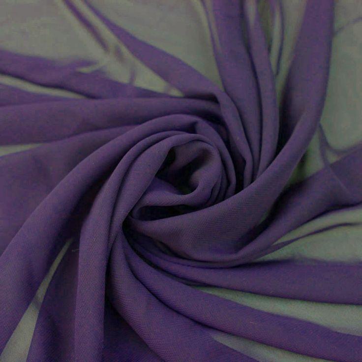 Eggplant-B Solid Hi-Multi Chiffon Fabric 500-EGGPLANT-B | StylishFabric.com