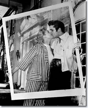 Elvis Presley with Yvonne Lime April 19, 1957 - Easter Weekend before renovations at Graceland were completed for the Presleys to move into their home.  Elvis showed Yvonne around the Graceland grounds.