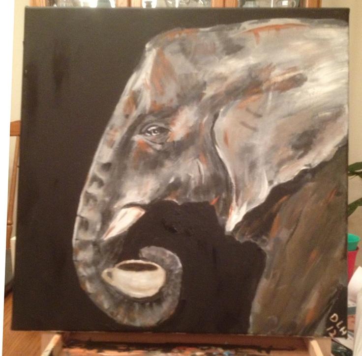 garage art ideas - Elephant drinking coffee