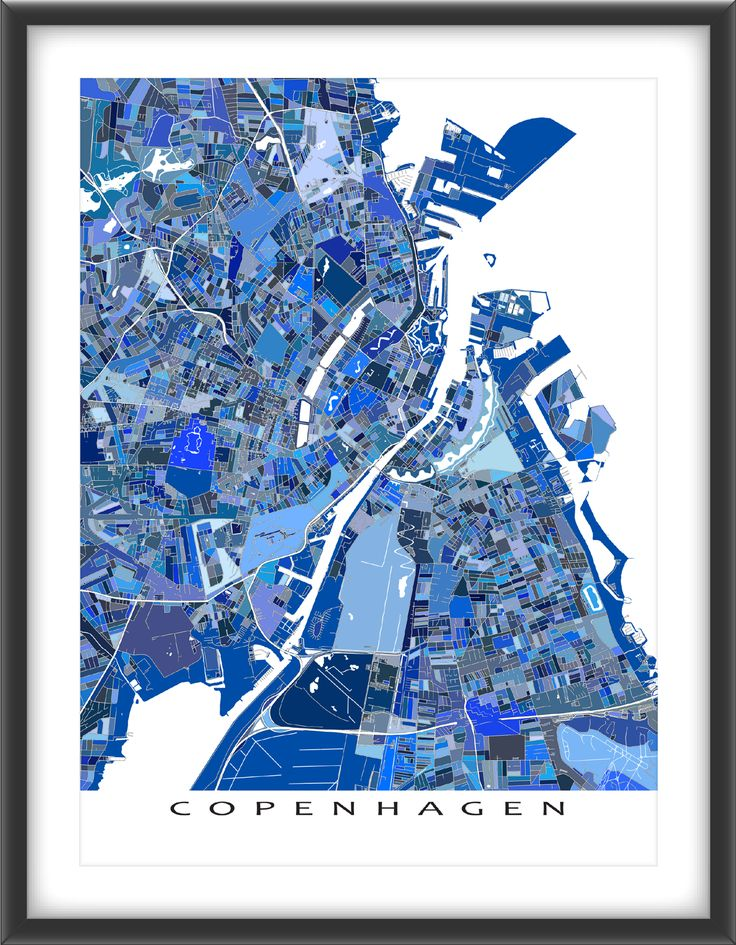 Copenhagen #map with a modern, abstract art design made from many little blue shapes. Each shape is actually a city block or a piece of land - and these shapes combine like a puzzle or mosaic to form this #Copenhagen print. #Denmark