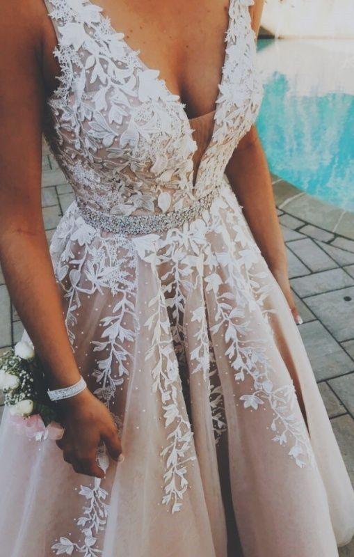 Wunderschönes a-line langes Brautkleid Abschlussballkleid von modsele