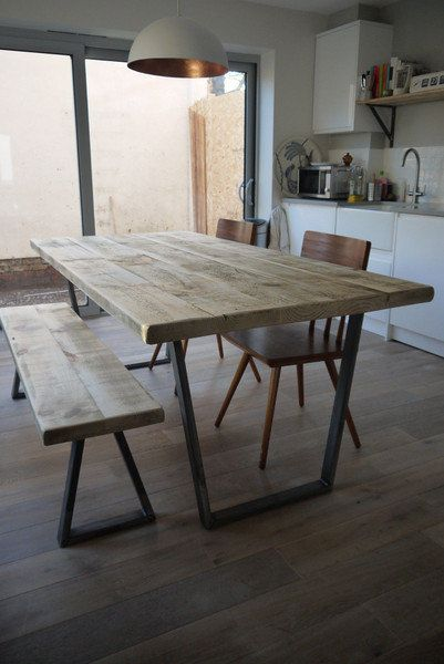 Package: Vintage Industrial Style Reclaimed Dining Table with Matching Bench & 2 Chairs