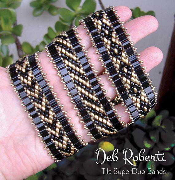 Tila SuperDuo Bands beaded pattern tutorial by Deb Roberti
