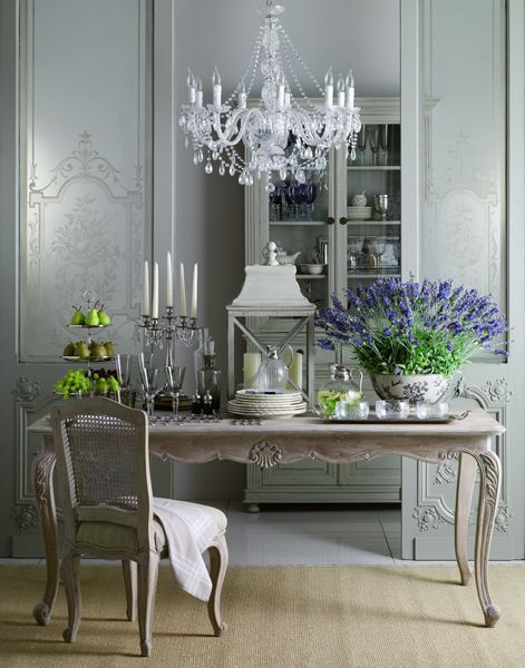 French Provincial: I really like this setting … the whole thing. I love the muted grey tones and the elegant styling and dressing.