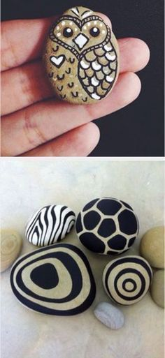 Painted rocks, owl, swirls, zebra and giraffe print