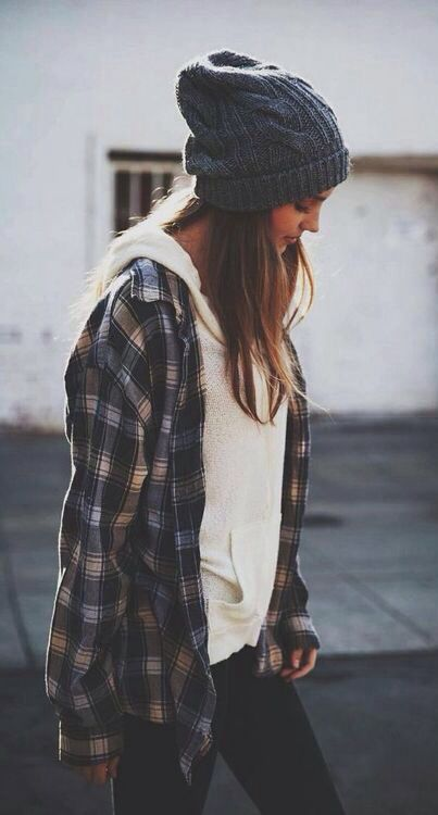 Plaid shirt + knit.