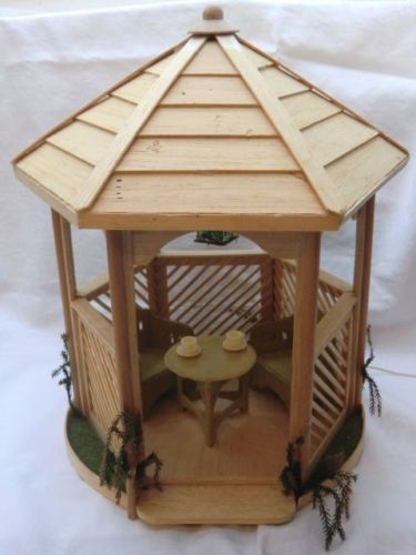 alte gartenmobelgarnitur 3tlg gepragte pappe karl schreiter in pavillon doll house gazebo. Black Bedroom Furniture Sets. Home Design Ideas