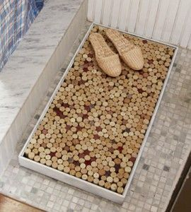 Crafts with wine corks make fun DIY home decor. Upcycle your wine cork collection into this fun and funky bath mat. countrywomanmagazine.com