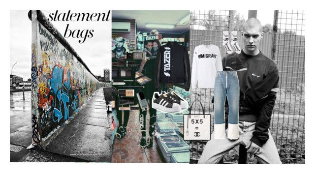 """Statement bags: East End Boys, West End Girls"" by atho-12345 ❤ liked on Polyvore featuring Ashish, Off-White, Chanel, adidas Originals, Ashley Williams, Vetements, Cast of Vices, Sydney Evan, Gucci and Alexander Wang"