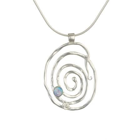 ACHICA | Banyan Textured Spiral Pendant Set with Opalite, Sterling Silver