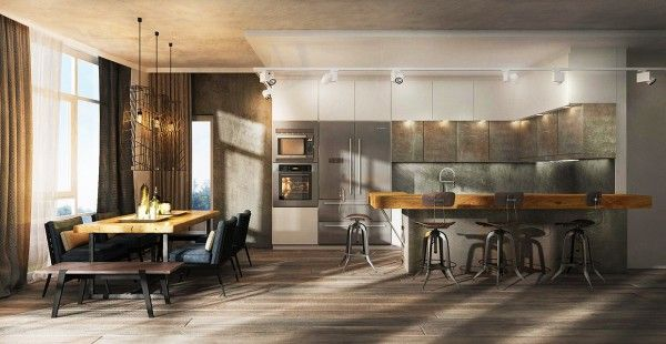 The second home is a bit larger and is more of a traditional apartment than an industrial loft, although it still uses concrete and metal styling. The wide open living room includes a deep cushy couch perfect for many friends as well as a spacious breakfast bar and formal dining area. The natural wood tones with their warm grains dominate the design and play well with cozy metallic neutrals.
