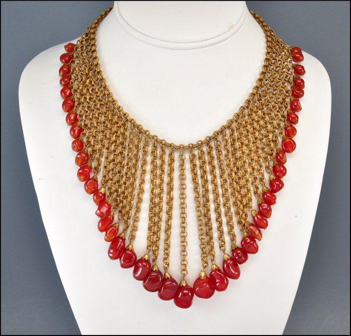 1920s jewelry   ... Deco Necklace Miriam Haskell Carnelian Gold Bib Vintage 1920s Jewelry