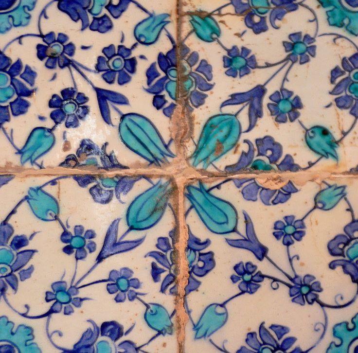 Istanbul, Turkey. Ceramic Jewels: Iznik tile, floral design, Eyüp Mosque