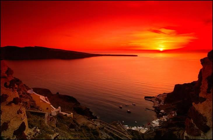 Beautiful red sunset on Santorini island, Greece  www.callgreece.gr