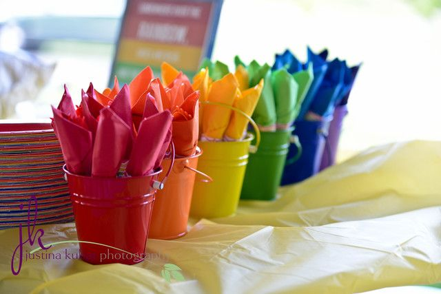"""Photo 16 of 46: rainbow, colors / Birthday """"Jalyssa's colorful 1st Brithday""""   Catch My Party"""