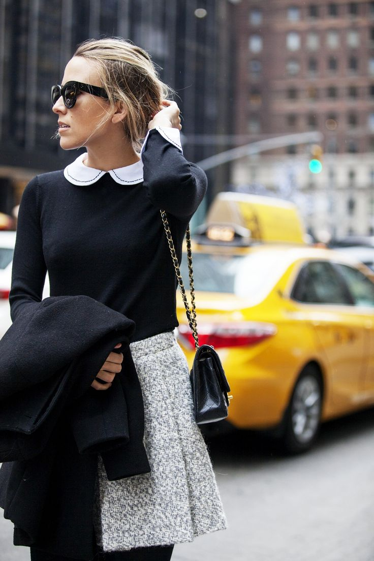 Good Day| Damsel In Dior - combo of black crew neck sweater, white peter pan collared shirt, black tights, wool or tweed skirt