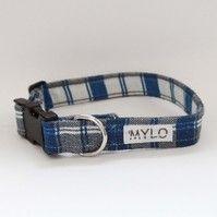 MR MYLO blue and grey tartan dog collar